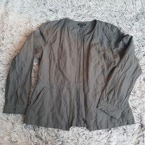 Gray, zip up, crinkle eileen fisher jacket